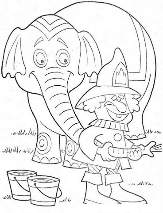 Colorear Bombero Apagando Fuego Con La Trompa Del Elefante