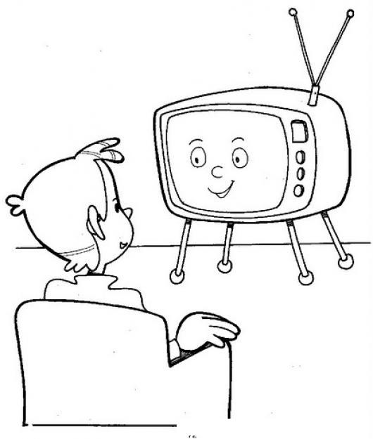 Dibujos Para Colorear Viendo Television Imagui