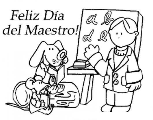 Dibujo Del Dia Del Maestro Para Colorear Y Pintar Colorear Dibujos