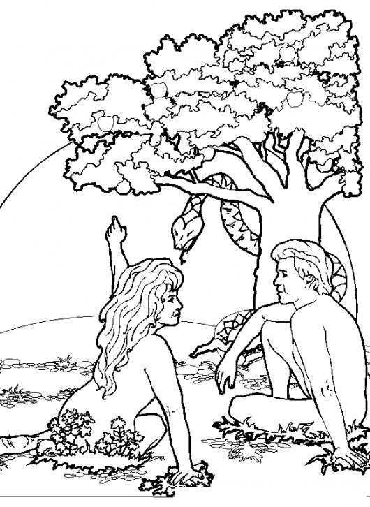 Dibujo De Adan Y Eva En El Paraiso Para Colorear   COLOREAR DIBUJOS ...