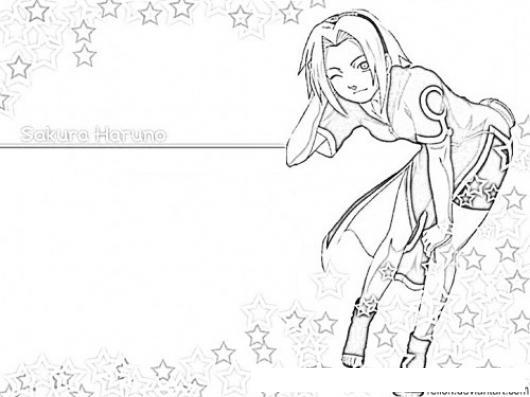 Dibujo De Sakura Haruno Para Colorear Online Imprimir Y Pintar