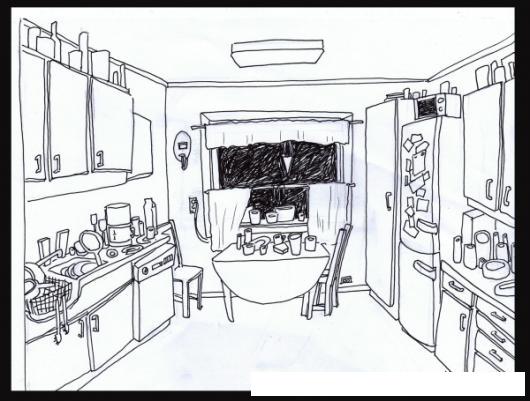 Dibujo de una cocina con gabinetes para colorear y pintar - Dibujos de cocina para pintar ...