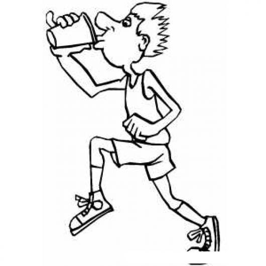Colorear Dibujo De Un Hombre Corriendo Bebiendo Un Vaso De Agua ...