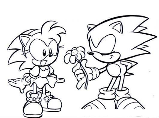 Dibujo Para Colorear A Sonic Dando Una Flor A Su Novia  COLOREAR
