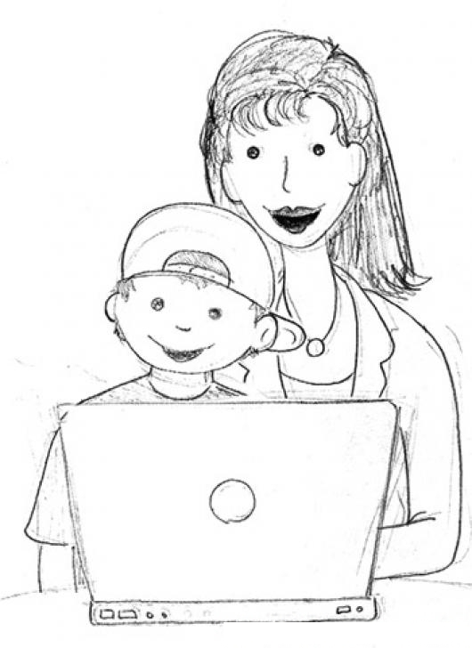 Dibujo De Mama E Hijo En Una Laptop Para Pintar Y Colorear
