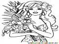Colorear a Barby con un arreglo de flores