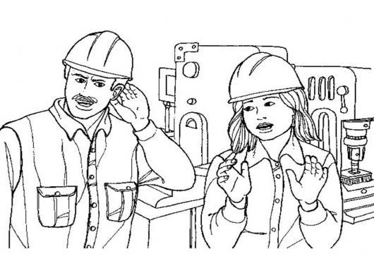 Dibujo De Ingenieros Constructores Para Pintar Y Colorear