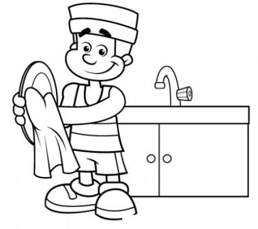 Hombre Lavando Fregando Y Secando Platos Para Pintar Y Colorear ...