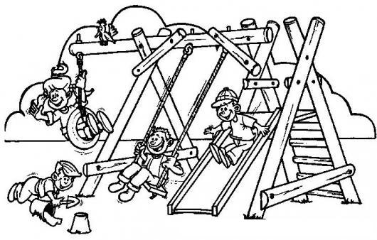 Dibujo De Parque Infantil Juegos De Ninos Columpios Y Jardin De ...