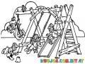 Dibujo De Parque Infantil Juegos De Ninos Columpios Y Jardin De Ninos Para Pintar Y Colorear