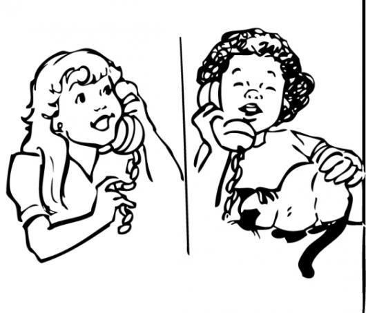 Dibujo Para Colorear A Dos Amigas Habalndo Por Telefono