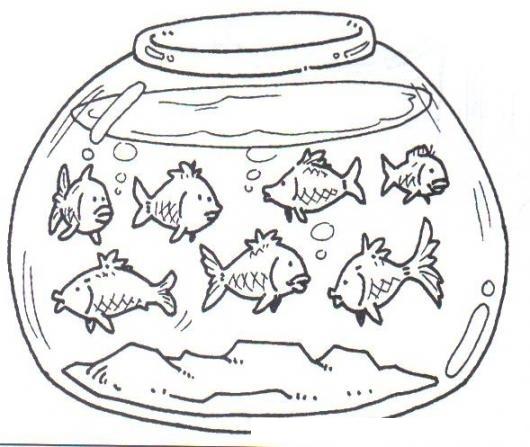 Pecera Con 8 Pescaditos Para Pintar Y Colorear Varios Peces Pecera