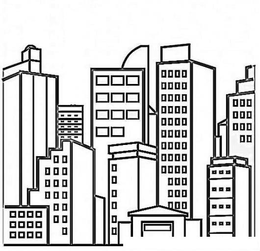 Dibujo De Una Ciudad Con Edificios Para Pintar Y Colorear dibujo