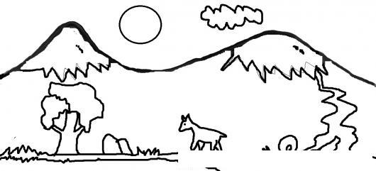 Dibujo de ecosistema chileno para analizar interacciones ...