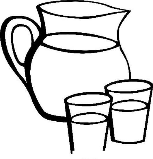 Dibujo De Pichel Con Dos Vasos De Agua Para Pintar Y Colorear