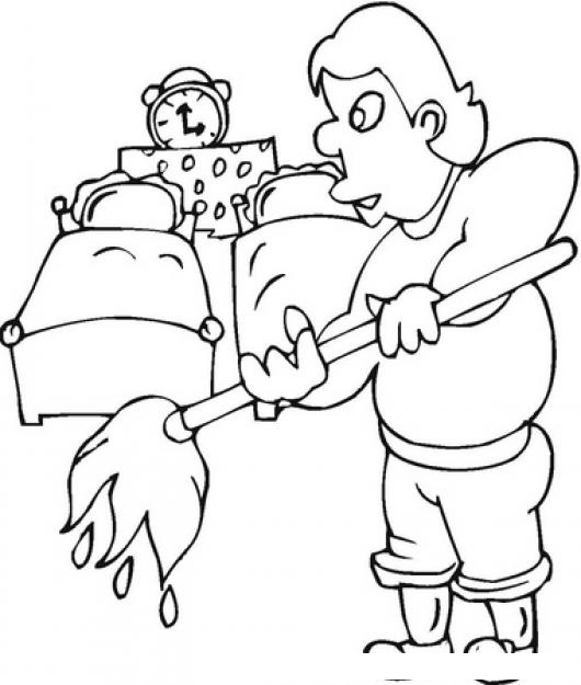 Dibujo de hombre trapeando para colorear marido haciendo for Cuarto para colorear