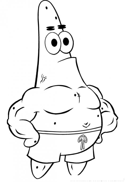 Colorear A Patrick De Bob Esponja Musculoso Y Fortachon Repleto De