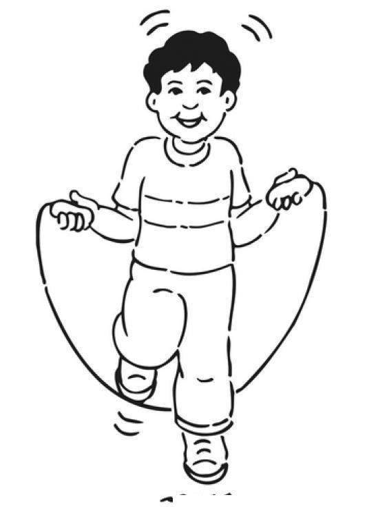 Dibujo De Nino Saltando Cuerda Para Pintar Y Colorear | COLOREAR ...