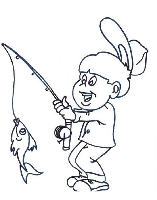 Dibujo De Un Nino Pescando Un Pez Con Cana De Pescar Para Pintar Y ...