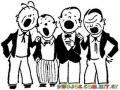 Dibujo De Cuarteto Cantando Para Colorear