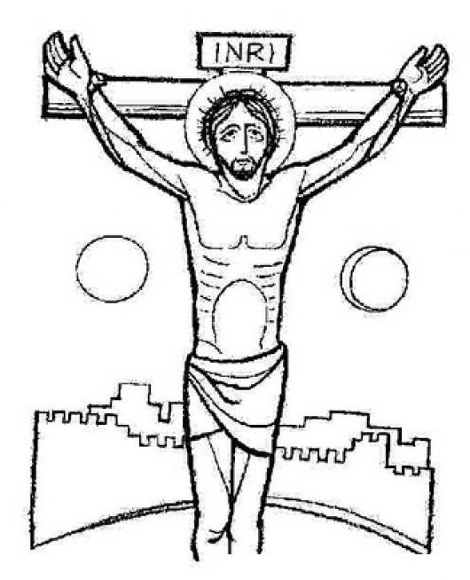 Dibujo De CRISTO Crucificado Para Pintar Y Colorear  COLOREAR