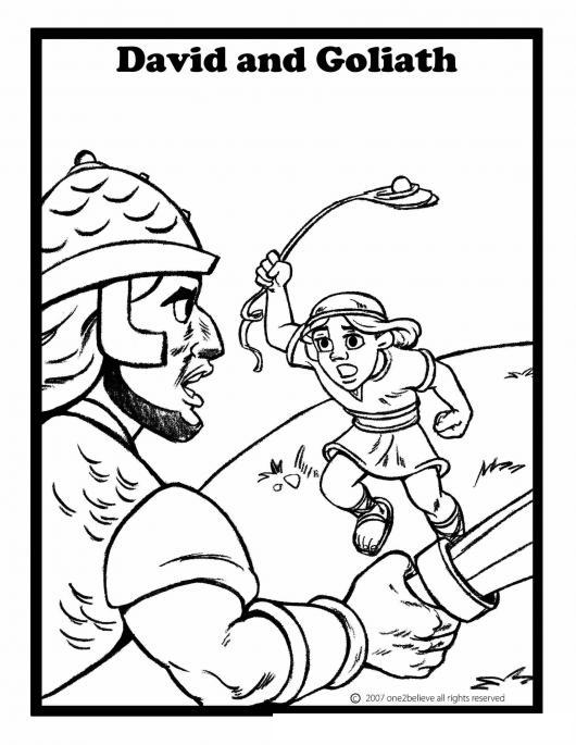 Pintar a David y Goliat | COLOREAR BIBLICOS | Dibujo para Colorear a ...