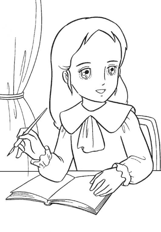 Dibujo De Nina Haciendo Sus Tareas Para Colorear Y Pintar ...