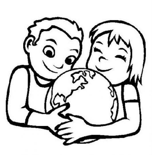 Ninos Abrazando Al Mundo En El Dia De La Tierra Para