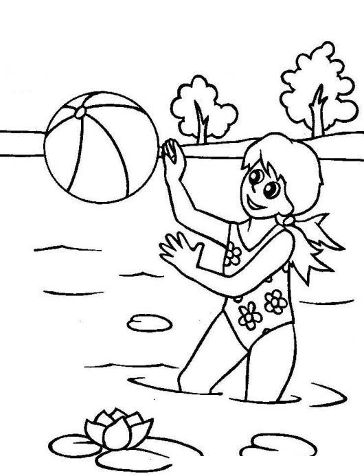 Nina En Vacaciones En Verano Para Pintar Y Colorear  COLOREAR