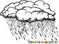 Tormenta Con Rayos Y Lluvias Para Pintar Y Colorear Un Torrencial
