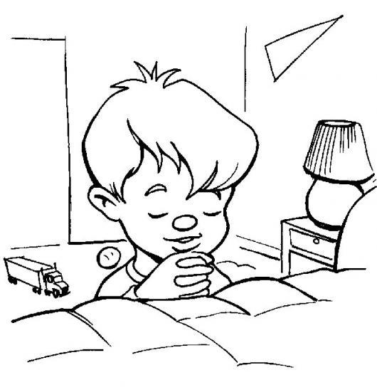 Dibujo De Nino Orando En Su Cuarto Antes De Acostarse Para Pintar Y