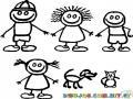 Dibujo De 4 Ninos Con Perro Y Gato Para Pintar Y Colorear