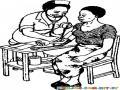 Dibujo De Doctora Tomando La Presion A Una Pasiente Para Pintar Y Colorear