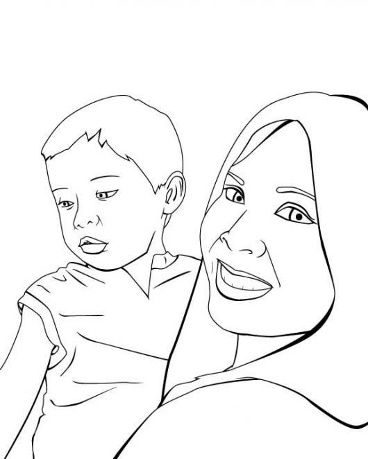 Dibujo De Mama E Hijo Para Pintar Y Colorear  COLOREAR DIBUJOS DE