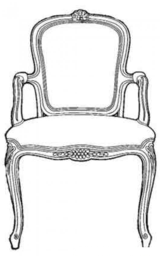 Dibujo de silla luis quince para pintar y colorear silla for Silla para dibujar