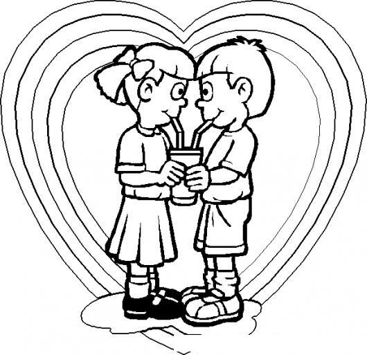 Dibujo De Ninos Enamorados Tomando Un Milkshake Con Dos
