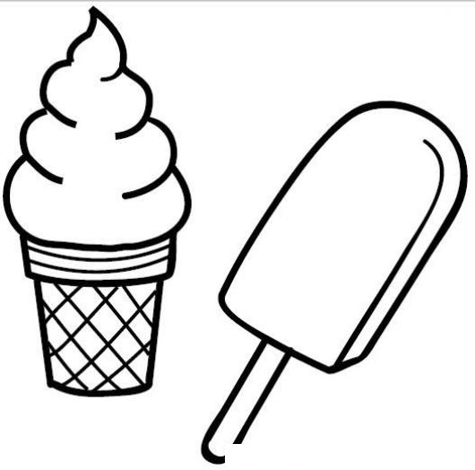 dibujo de helado de crema y helado de hielo para pintar y colorear