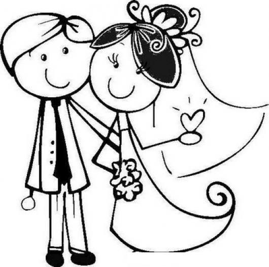dibujo de novios reciencasados para pintar nuevos esposos para pintar y colorear