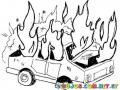 Dibujo De Carro En Llamas Agarrando Fuego Para Pintar Y Colorear Automovil Quemandose Coche Incendiado Y Quemado
