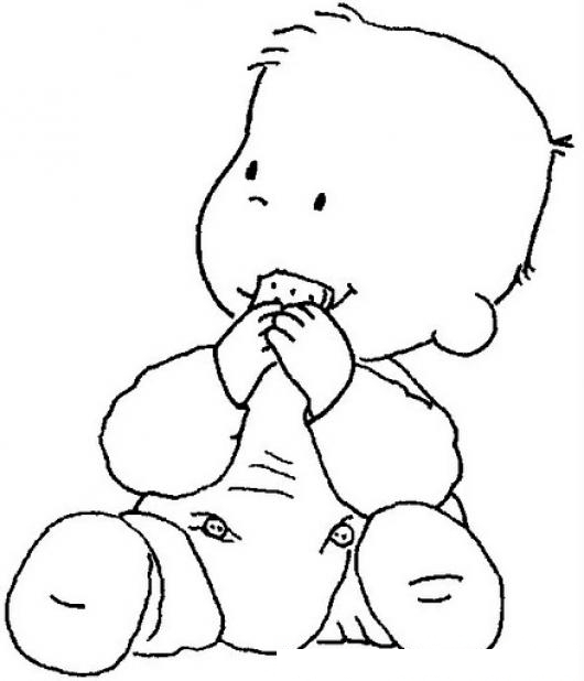 Dibujo De Bebe Comiendo Galleta Para Pintar Y Colorear ...