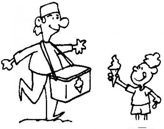 Dibujo De Heladero Vendedor De Helados Con Hielera De