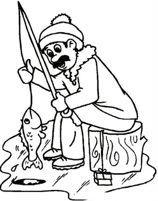 dibujo de pescador del polo norte pescando sobre el hielo para pintar y colorear