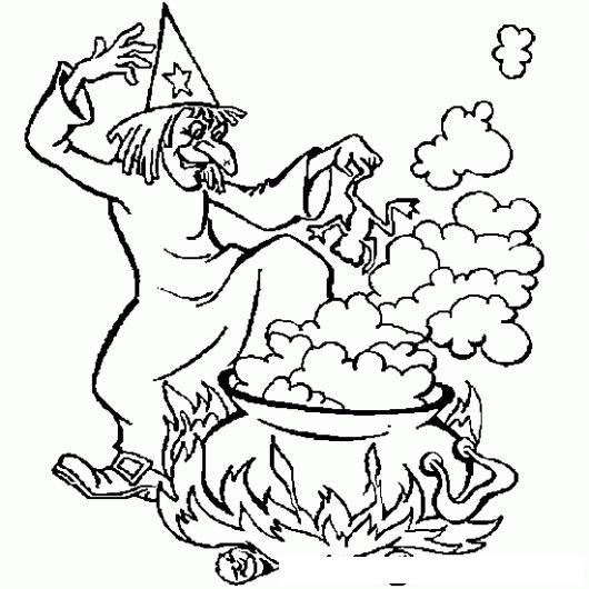 dibujo de bruja cociendo caldo de ranas para pintar y colorear