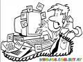 Dibujo De Hombre Estresado Y Afligido Frente Al Computador Con Un Monton De Notas Pendientes Y Postits Para Pintar Y Colorear