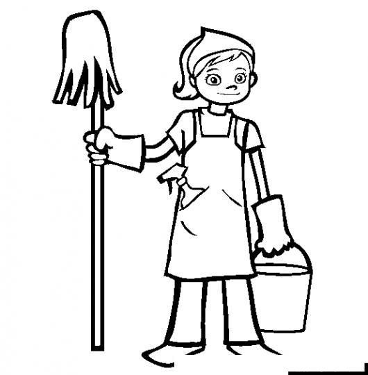 Dibujo De Muchacha Haciendo Limpueza Con Un Trapeador Y Una