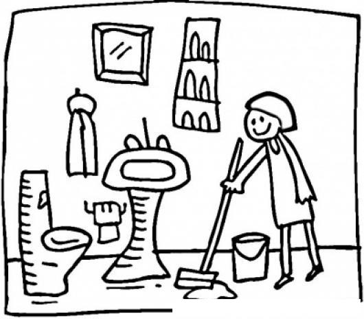 Dibujo De Domestica Limpiando Un Bano Para Pintar Y