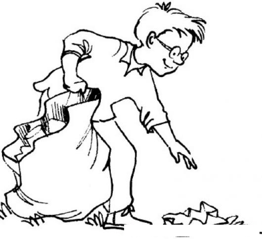 Dibujo De Nino Recogiendo Basura En Una Bolsa Canguro Para ...
