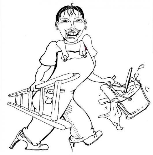 dibujo de mujer pintora con escalera cubeta pintura y brocha para pintar y colorear colorear dibujos de cholo dibujo de mujer pintora con escalera