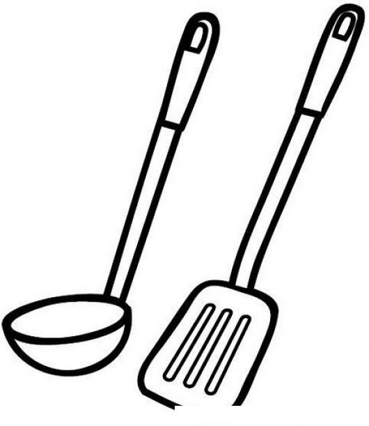 Cucharon y espatula para pintar y colorear implementos de - Dibujos de cocina para pintar ...