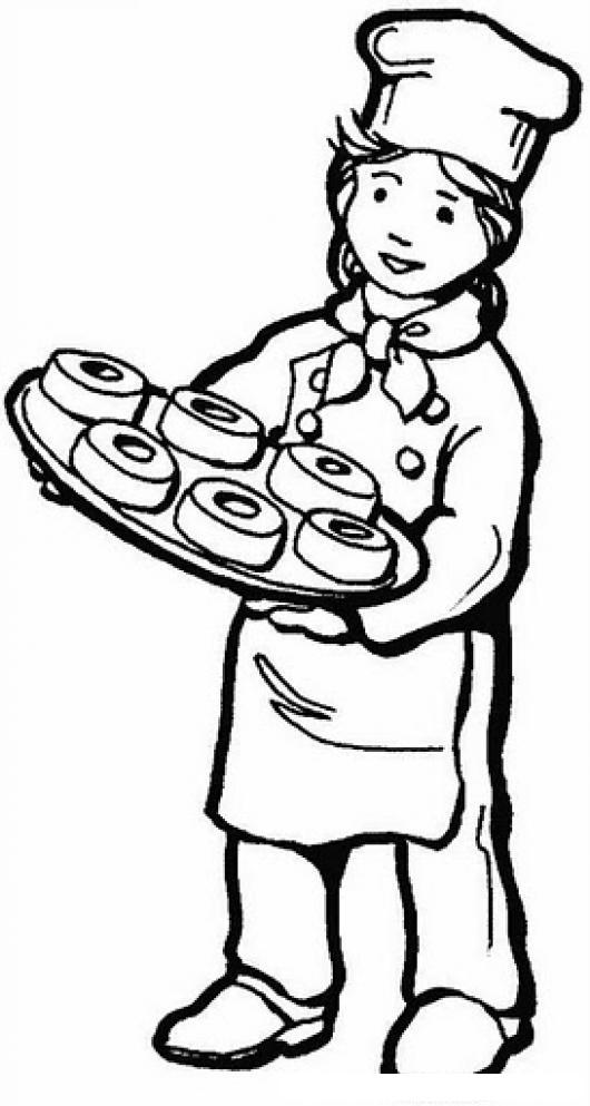Dibujo De Mujer Panadera Con Donas Para Pintar Y Colorear